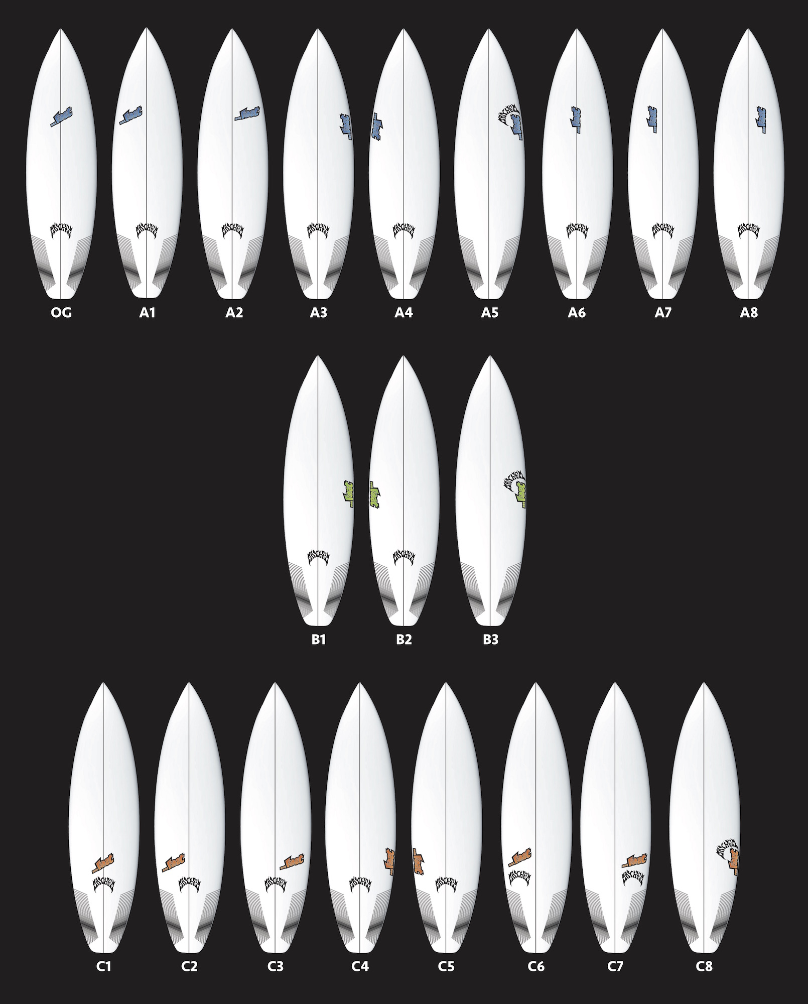Custom Logo Placement Lost Surfboards Mayhem Shapes